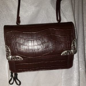 🌸 Bueno Vintage Dark Brown Leather Crossbody Bag